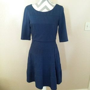 Blue Past Elbow Sleeves Swing Flare Dress 8